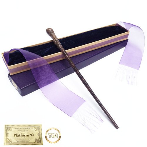 Metal/Iron Core Ron HP HermioneVoldemort Magic WandElegant Ribbon Box Packing Cosplay Christmas Gift With Train Ticket