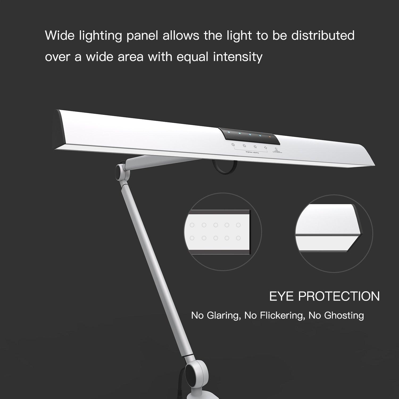 A509 светодиодный поворотный кронштейн архитектор настольная лампа, сенсорная настольная лампа для чтения Рабочая серебро 2 режима освещения, 4 уровневый с регулируемой яркостью - 2