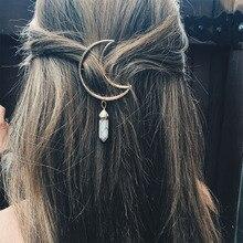 1 шт. Горячая ретро многоцветная Женская Лунная заколка шестиугольная колонна Aolly заколка для волос аксессуары для волос