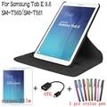 4 en 1 moda 360 grados que giran la cubierta de cuero para samsung galaxy tab e 9.6 t560 t561 tablet case + protector de pantalla + otg + pen