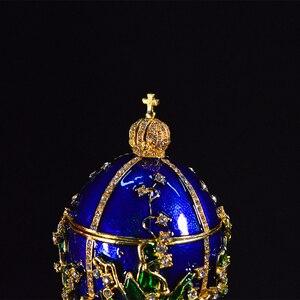 Image 3 - QIFU Royal Blue Faberge Egg Home Decor Metal Easter Egg