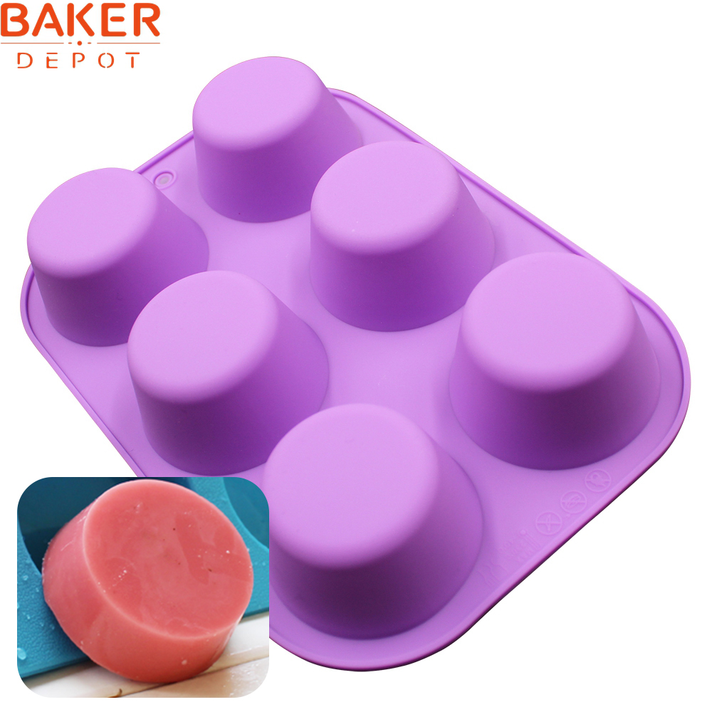 BAKER DEPOT Silicone Soap Mold Muffin Cupcake Mold Round Bakeware Baking Cake Mold 6 Hole Candle Ice Pudding Handmade Soap Mould
