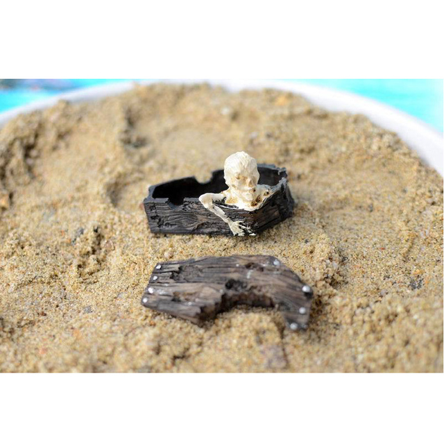 1pcs Household Crafts Coffin Skull Resin Skull Resin Sand Toys Ornament Reptile Tank Fish Tank Aquarium Decoration