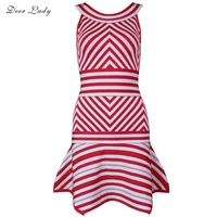 Deer Lady Vestidos Party Dress 2018 New Arrivals Stripe Bandage Dress Rayon White And Red Chic