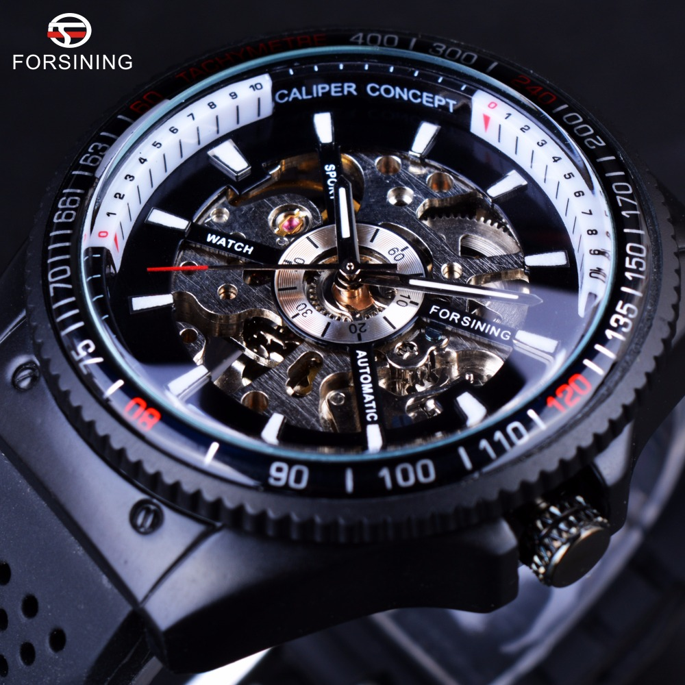 Forsining 2016 Rotating Bezel Sport Design Silicone Band Men Watches Top Brand Luxury Automatic Black Fashion Casual Watch Clock skullies