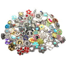 Mix 10pcs/lot Rhinestone Crystal Metal Snap Buttons Jewelry Fit 18mm Bracelets For women