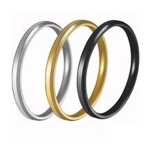 Anillo de titanio fino de 2MM de acero plateado dorado y negro para parejas, anillo sencillo de dedo liso a la moda para hombres y mujeres, regalos