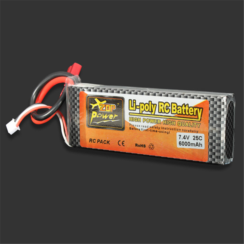 High Quality ZOP Power 7.4V 6000MAH 25C Lipo Battery T Plug high quality zop power 11 1v 1500mah 25c lipo battery t plug