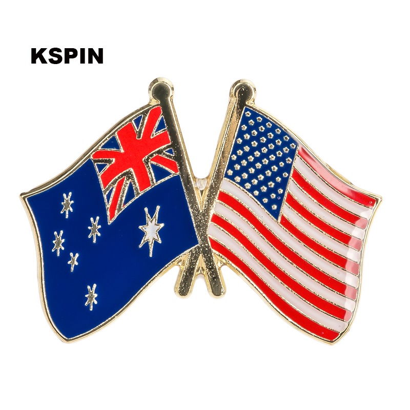 Australia U.s.a Friendship Flag Label Pin Metal Badge Badges Icon Bag Decoration Buttons Brooch For Clothes 1pc Xy0114 Badges Apparel Sewing & Fabric