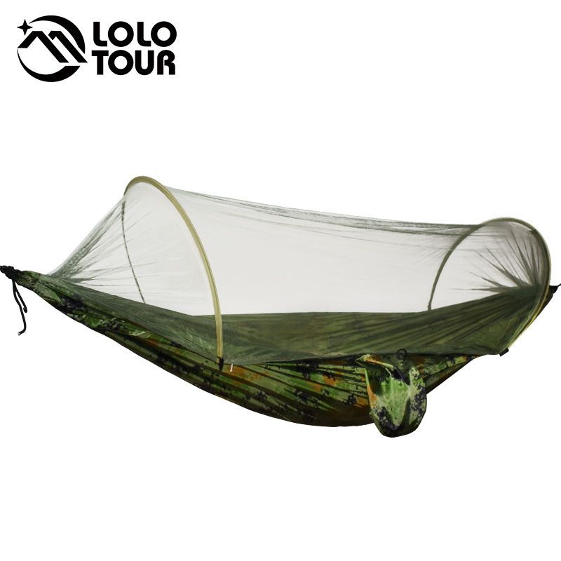 Camping Hammock With Mosquito Bug Net Tent Outdoors Travel With Tree Straps Easy To Set Up Portable Folding Swing Sleeping Bed double camping hammock mosquito bug net hammock tree straps carabiners easy assembly portable parachute for survival travel