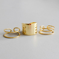 Gold color 100% 925 sterling silver rings set for women, fashion multi layer wide engagement ring set femme silver 925 jewelry