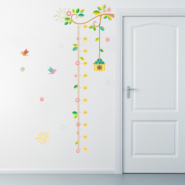Flower Branch Tree Birdcage Height Measure Growth Chart Wall