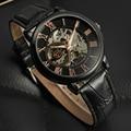 2016 Forsining homem saat hora de relógio personalizado relógios pulseira de couro dos homens marca de luxo automático mecânica vestido relógio dos homens
