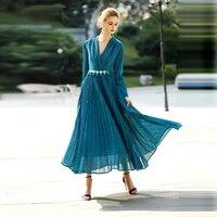 Sexy Long Dresses High Street Multicolor 2017 Summer Full Sleeve Designer Pleated Elegant Belt Slim V-neck Novelty Dress