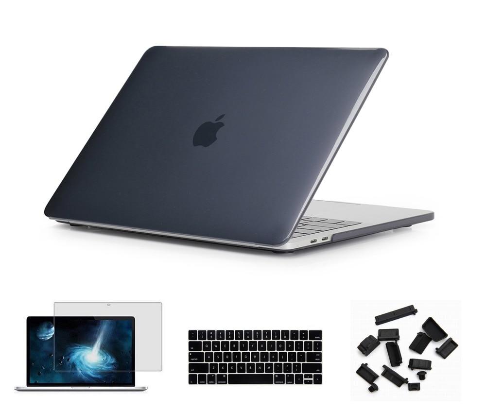Матовый чехол для ноутбука Apple Macbook Pro retina Air 11 12 13 15 дюймов для Macbook Air13 A1932, Pro 13 15 A1989 A1990 - Цвет: Black