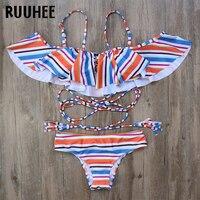 RUUHEE Bikini Swimwear Swimsuit Women Sexy Bikini Set Bat Sleeve Push Up Bathing Suit Biquini Maillot
