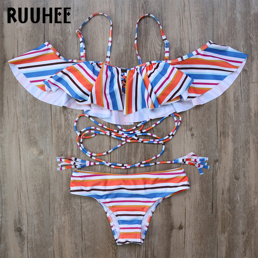 RUUHEE Bikini Swimwear Swimsuit Women Sexy Bikini Set Bat Sleeve Push Up Bathing Suit Biquini Maillot De Bain Femme Beach 2017 ruuhee bikini swimwear women swimsuit bathing suit sexy brazilian push up beach 2017 bikini set maillot de bain femme biquini