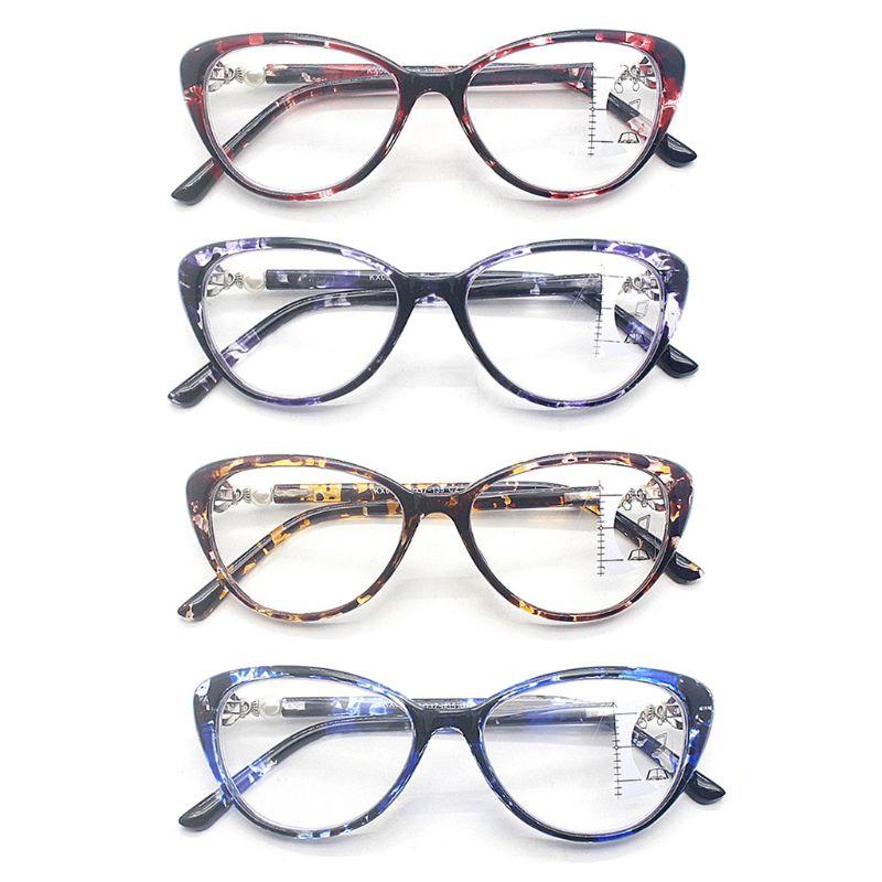 Anti Blue Light Progressive Multifocal Reading Glasses Retro Cat Eye Frame Near Far Sight Diopter Eyewear TR90