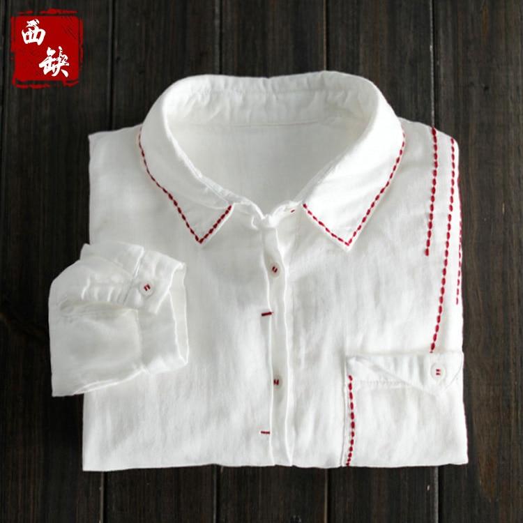 2018 new mori girl Fresh loose long-sleeve red line 100% cotton white shirt female spring casual shirt