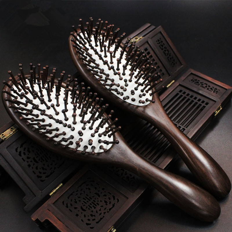 2017 Top Fashion Hairbrush Hair Brush Hair Care Hot Sale Of High-grade Pure Natural Ebony Comb Airbag Massage high quality scalp massage comb 3 color mixed hair hair curls comb send elders the best gifts health care tools