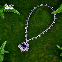 Be 8 Luxury Big Square Charm Blue Pendant Necklace For Women White Gold Color Torque For Women Slap up Accessories Gift N061