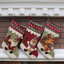 3Pcs/lot New Year Christmas Stockings Socks Santa Claus Candy Gift Bag Xmas Tree Decorations Festival Party Ornament