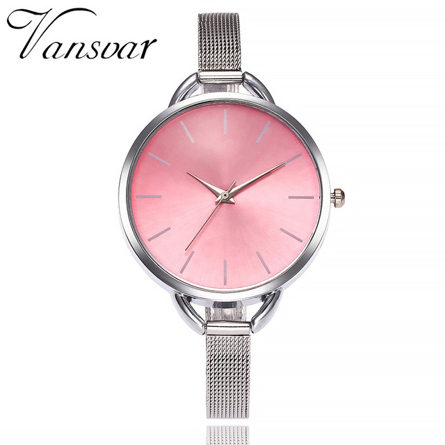 2018 Vansvar Luxury European Style Ladies Watches Stainless Steel Elegant Big Di