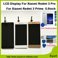 Pantalla lcd de alta calidad + digitalizador para xiaomi redmi 3 pro reemplazo del panel táctil de 1280x720 de alta definición de 5.0 pulgadas para xiaomi redmi 3 prime