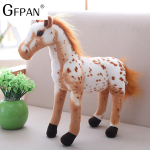 Image 3 - 1pc 60 30cm Simulation Horse 5 Styles  Stuffed Animal Plush Dolls High Quality Classic Toys For Children Gift
