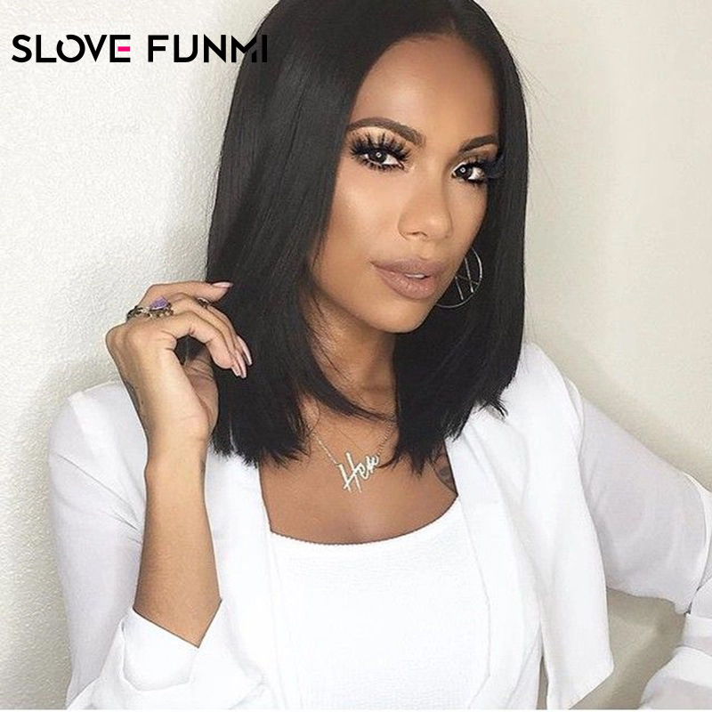 Short Bob Lace Front Wigs With Baby Hair 8-16 Inch Straight Mongolian Remy Hair Wigs For Women With Bleached Knots Slove Funmi