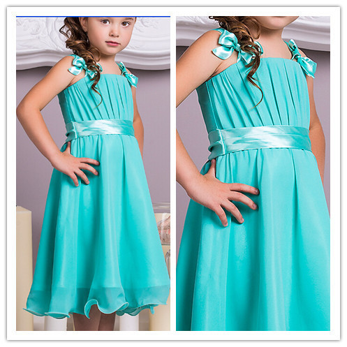 2017 Summer Teal Chiffon Short Knee Length A-line Colorful Flower Girl  Dresses Bridal Party Dress Junior Bridesmaid Dresses 7e0826a43eee