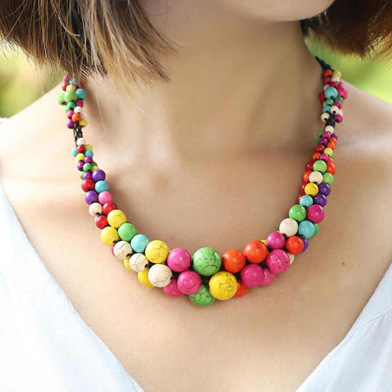 Bohemia Natural Stone Pendants Necklaces Ethnic Handmade Colorful Stone Rope Chain Beaded Choker Necklace For Women Jewelry