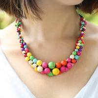 2017 High Quality Bohemia Colorful Stone Clavicles Necklaces Charm Beach Handmade Ethnic Rope Chain Necklaces For