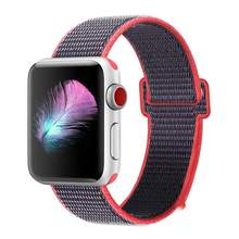 Lazo deportivo para Apple Watch band 42mm 38mm iWatch 3/2/1 pulsera de correa de nailon correa de reloj gancho y cierre de bucle(China)