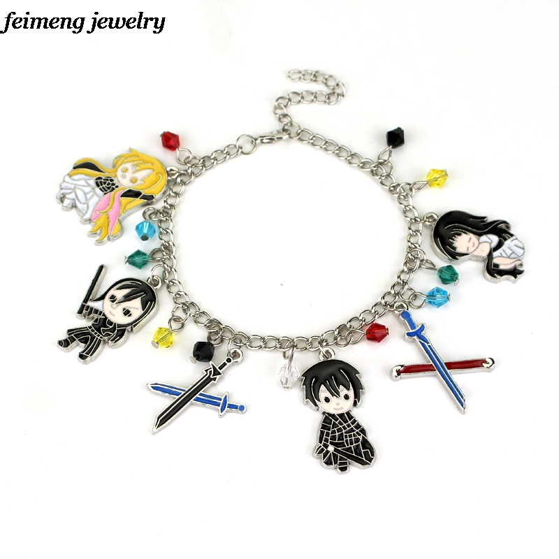 New Game Sword Art Online Charm Bracelets Multi Pendant  Bangles & Bracelets For Women Fans Gift Wholesale & Retail