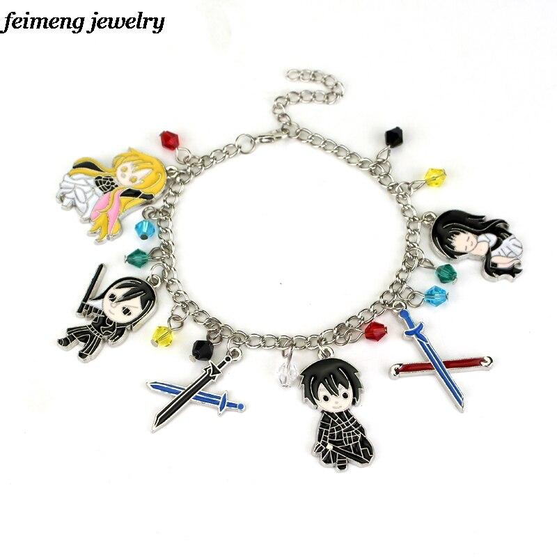 New Game Sword Art Online Charm Bracelets Multi Pendant Bangles & Bracelets For Women Fans Gift Wholesale & Retail