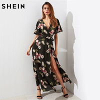 SHEIN Flutter Sleeve Surplice Wrap Dress Multicolor A Line Women Long Dress Short Sleeve V Neck