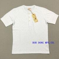 BOB DONG Vintage Slubby Cotton Henley Shirts Ribbed Cuffs Men's Tee Shirts White