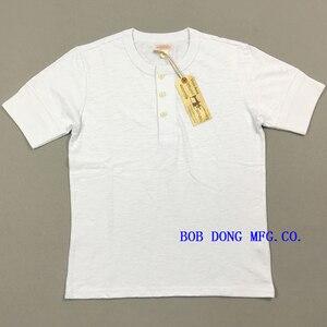 BOB DONG Vintage algodón Slubby Henley camisas acanaladas Puños para hombres camisetas blancas
