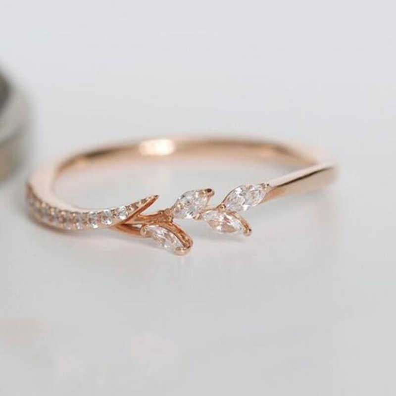Tisonliz Simple Crystal Rose Gold Engagement Rings Women's Eternity Wedding Band Leaf Rings For Female Fashion Jewelry Gifts