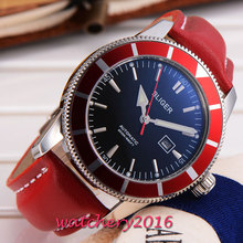 New 46mm Bliger stainless steel black dial date adjust display mineral crystal Automatic movement Men s