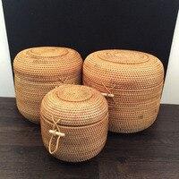 Rattan okrągły kształt handmade biżuteria pudełka pudełko do przechowywania z pokrywką organizator Wietnam Rattan tkania cyny dla puerh herbata jedzenie najlepsze prezent