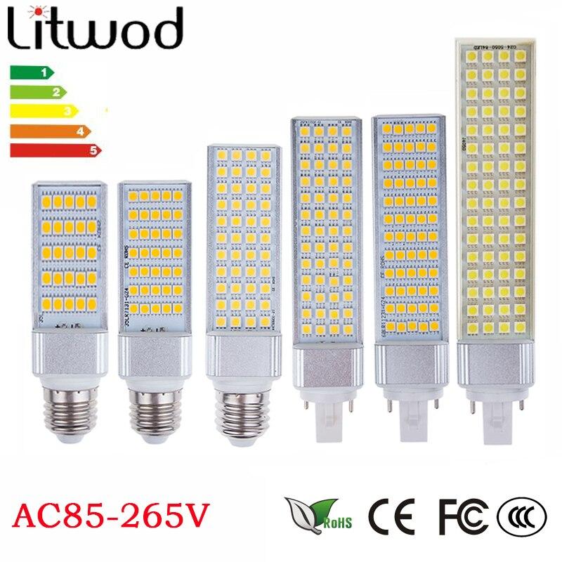 z30 Lampada G23 G24 E27 E14 5W 7W 9W 11W 12W 13W 85V-265V/AC Horizontal Plug lamp SMD5050 Bombillas LED Corn Bulb Spot light