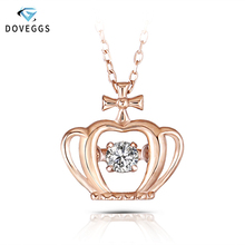 DovEggs Rose Gold Ladies 0.1carat Diamond Pendant Necklace 10K Dancing Setting Link Chain For Women