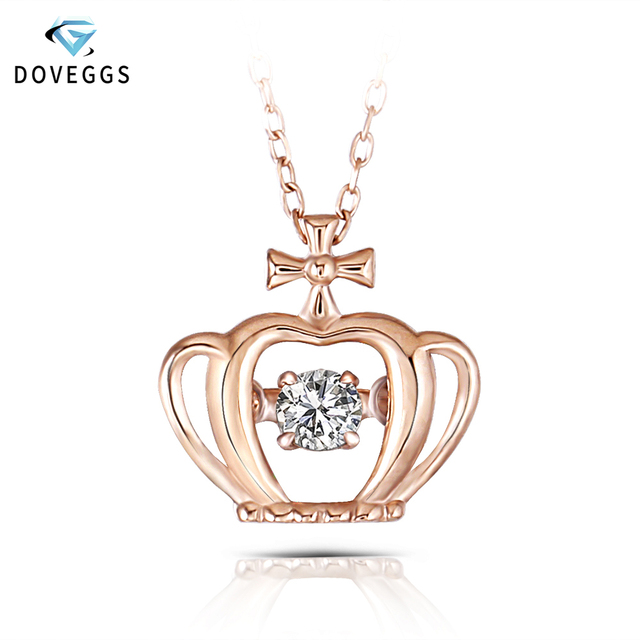 ca556cf4d9a5 DovEggs Rose Gold Ladies 0.1carat Diamond Pendant Necklace 10K Rose Gold  Diamond Dancing Setting Link Chain Necklace For Women