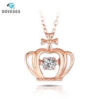 DovEggs Rose Gold Ladies 0.1carat Diamond Pendant Necklace 10K Rose Gold Diamond Dancing Setting Link Chain Necklace For Women