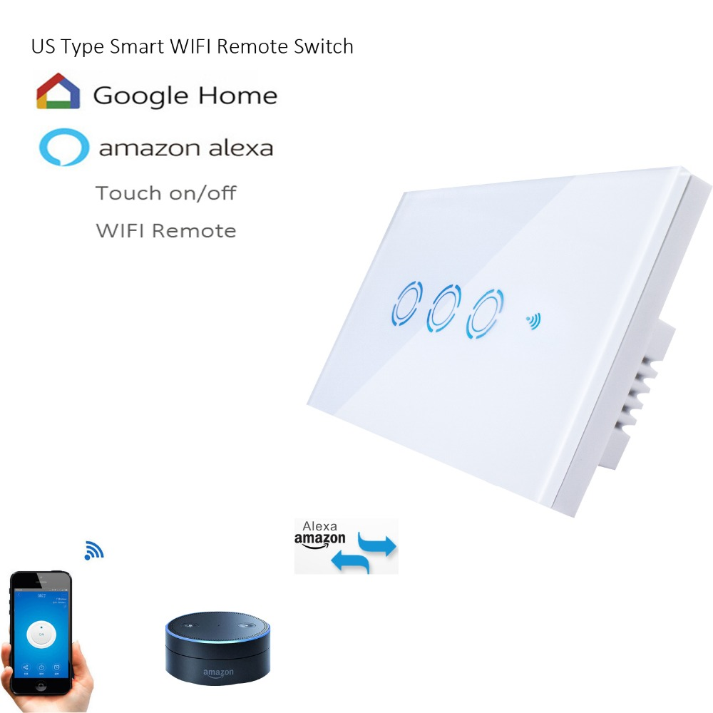 New Ewelink US Type 1 2 3 gang wall light app switch,touch control panel,wifi remote control via smart phone,work with Alexa sonoff t1 smart wifi rf app touch control wall light switch 1 2 3 gang 86 type uk panel wall touch light switch alexa nest
