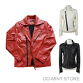 High Quality Fashion Faux Pu Leather Man Motorcycle Red Jacket Mens Leather Hoodie Men/Red Black White /Short Version