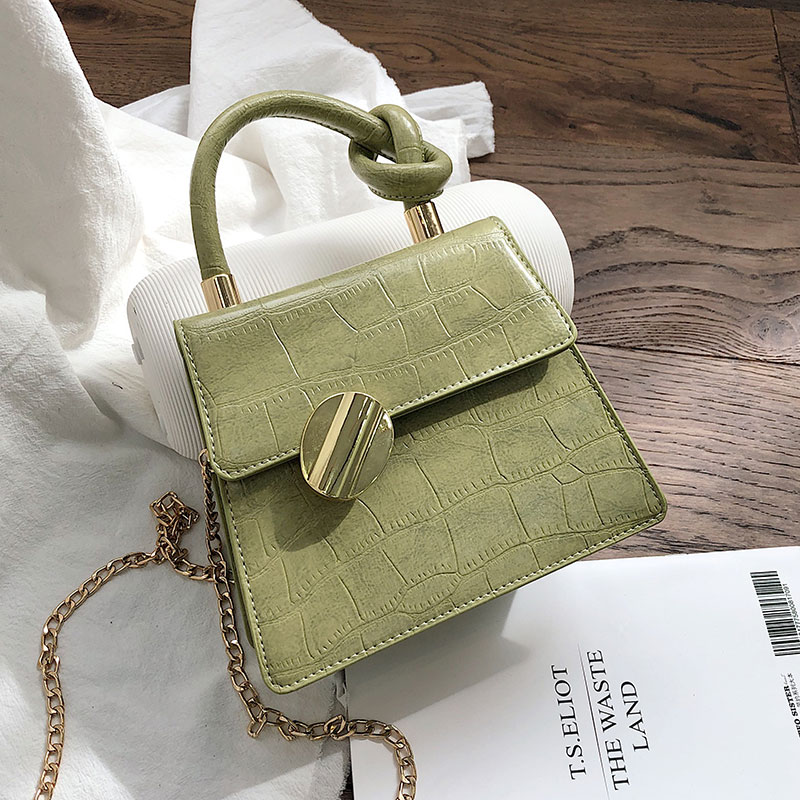 Matcha Green Crocodile Pattern Crossbody Bags Women 2019 Small Chain Handbag Small Bag PU Leather Hand Bag Ladies Shoulder Bags