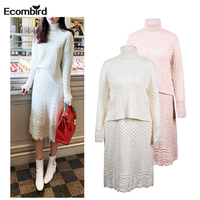 Ecombird High Quality Casual Autumn Winter Women Sweater Dress Elegant Beading Long Sleeve Knitted Dresses Female